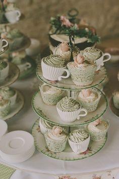 Green Wedding Shoes and a Inspired Dress for a Vintage Celebration In The Cotswolds - Cupcake Pink Ideen Wedding Food Bars, Wedding Cakes, Vintage China, On Your Wedding Day, Wedding Blog, Wedding Dress, Watercolor Wedding Cake, Doughnut Cake, Green Wedding Shoes