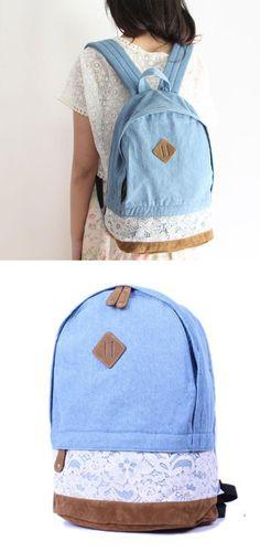 Fresh Denim Lace Student School Bag College Backpacks for big sale! #lace #denim #backpack #bag #school #college #student #fashion #travel