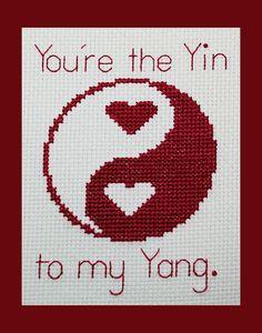 Yin Yang Hearts Cross Stitch Pattern Yin and by BlueTopazStitchery, $4.00