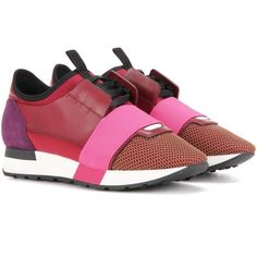 Balenciaga Race Runner Leather and Fabric Sneakers (15.364.095 VND) ❤ liked on Polyvore featuring shoes, sneakers, multicoloured, multi colored shoes, multi colored sneakers, multi color sneakers, multicolor shoes and balenciaga