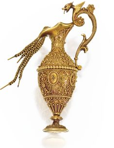 GOLD ARCHAEOLOGICAL-REVIVAL PENDANT. Designed as a vase decorated with granulation and twisted gold wirework, suspending flexible gold links depicting cascading water, gross weight approximately 8 dwts; circa 1860.