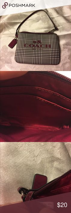 Authentic Coach cranberry Peyton wristlet NWOT, never used. # F 52142 if you can't see pic well. Hard to photograph Coach Bags Clutches & Wristlets