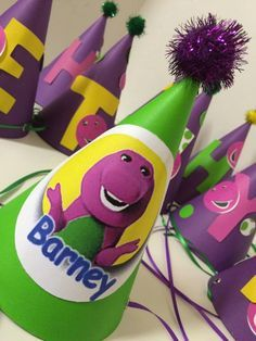 Barney Inspired Birthday Party Hat Barney and Friends Birthday Party - Baby Shower - I love you, you love me - Purple Dinasour by FiggiDoodles on Etsy