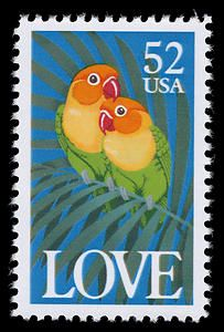 The 1991 Love issue featured two brightly colored lovebirds.