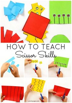 How to Teach Scissor Cutting Skills to Kids in Preschool, Pre-K, or Kindergarten. When you this developmental sequence your kids will be confident and successful cutting with scissors! Pre K Activities, Motor Skills Activities, Preschool Learning Activities, Preschool At Home, Preschool Lessons, Preschool Crafts, Teaching Kids, Preschool Checklist, Educational Activities