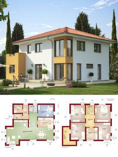 Stadtvilla Landhaus mediterran mit Walmdach Architektur & Erker Anbau - Haus bauen Grundriss Einfamilienhaus Evolution 165 V2 Bien Zenker Fertighaus Ideen - HausbauDirekt.de