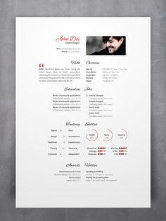 Template For A Beautiful Resume  Page Psd  Pdf Template For