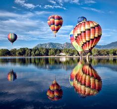 hot air balloon - the swirl on the right balloon is wonderful with the reflection.
