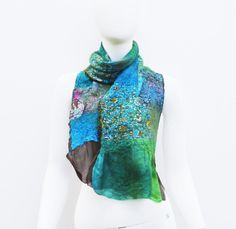 Turquoise Silk Wool Patchwork Anna Chandler by juliaheartfelt