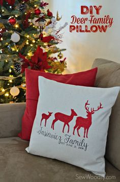 DIY Deer Family Pillow Cover using @Cricut Explore & Iron-On Vinyl! #SecretCricutSanta #Cricut