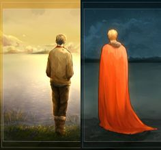 To me, this looks like Merlin waiting for Arthur on earth and Arthur waiting to come back from Avalon, both looking out over different ends of the same Lake.