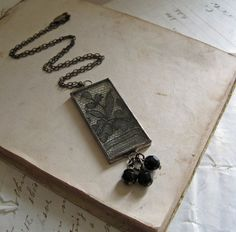 Black Lace Bevel Glass Necklace