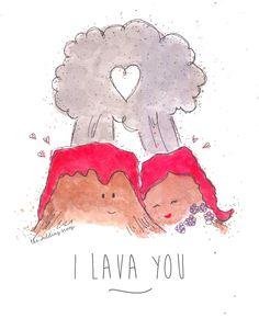 "I lava you // Inspired by Disney Pixar's cute short film on volcano love ""Lava"" #love #cute #quote #illustration (Instagram: theweddingscoop)"