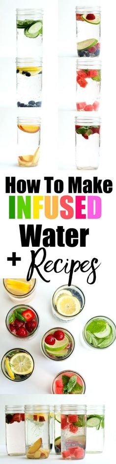 Inspiring infused water recipes! These are great healthy recipes for drinking water if you don't like plain water. Stay hydrated and get extra vitamins. Great for kids or the whole family.