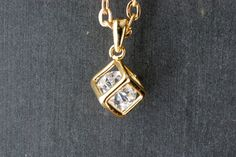 Gold Cube Necklace Cubic Zirconia by paperfacestudio on Etsy