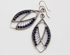 Handmade Lapis Lazuli gemstone earrings, wire wrapped in sterling and fine silver