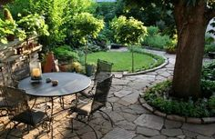 flagstone patio around tree