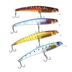 HENGJIA 4pcs Fishing Plastic Lure Bait with Sound Ball