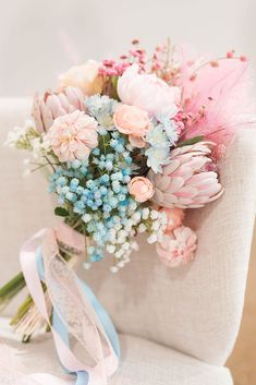 Spring Wedding Bouquet with Fake Flowers in Pastel Pink and Blue. Cotton Candy Flower, Cotton Candy Wedding, Cotton Candy Clouds, Wedding Candy, Pink And Blue Flowers, Fake Flowers, Artificial Flowers, Silk Flowers, Winter Flowers