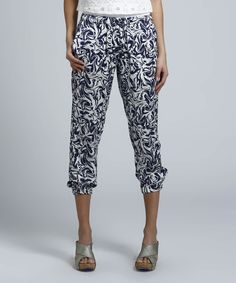 Take a look at the Classique Navy & White Swirl Cropped Pants on #zulily today!