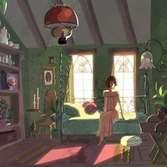 victoriaying:  An attic bedroom #conceptart #illustration #kidlitart  Victoria Ying