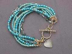 BraceletBeaded BraceletGreen BraceletGold by TrucMuchesDesigns, $27.00