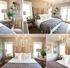 Harmonious bedroom - country rustic chic with a glamourous twist.  Also like the other rooms in the house.