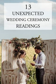 These 13 unexpected wedding ceremony readings are perfect for modern couples who want to include a meaningful yet unique passage in their wedding ceremony. Wedding Ceremony Ideas, Budget Wedding, Wedding Planning, Wedding Readings Unique, Modern Wedding Vows, Reading For Wedding Ceremony, Wedding Readings Poems, Wedding Poems Reading, Wedding Ceremonies