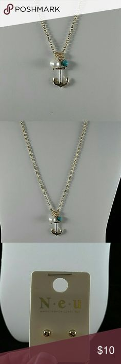 Gold anchor necklace set Gold anchor necklace with pearl and turquoise accents with earrings Jewelry Necklaces