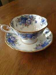 Blue roses teacup and saucer.
