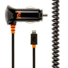MFI EMPIRE Lightning Connector Car Charger - 2.4 Amp (2400 mAh), 2 Meters (6 ft.) - Orange/Black mobilestylenation.com