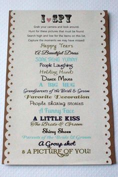 30 I Spy Customized Cards Wedding Reception Activity By Forjasper