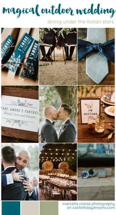 Masculine color scheme for this Outdoor Italian Wedding theme under the stars with two grooms. Set in Pantano Borghese Rome - blue, grey, slate and natural organic greenery color palette. wedding themes Magical Outdoor Wedding at Pantano Borghese in Rome Outdoor Wedding Flowers, Outdoor Wedding Reception, Outdoor Wedding Decorations, Outdoor Weddings, Reception Ideas, Star Wedding, Wedding Music, Wedding Sets, Blue Wedding