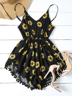 $17.49 Sunflower Print Cami Beach Romper - BLACK M