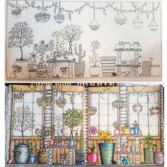 Antes e depois.. horas vagas ✍ #jardimsecreto #johannabasford #pintandoosete #secretgarden #fabercastell #staedtler #posca #fabercastellbrasil