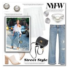 """""""NYFW Street Style: Day Two"""" by pearlparadise ❤ liked on Polyvore featuring 10 Crosby Derek Lam, Balenciaga, Simon Miller, Linda Farrow, StreetStyle, NYFW, contestentry, pearljewelry and pearlparadise"""
