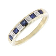 This gorgeous rings is set with 5 square cut dark blue sapphires, each one separated by a sparkling diamond in between. In a traditional eternity style, this nine-stone ring is made from 9ct gold and measures approximately 4mm in width making it both easy and comfortable to wear.