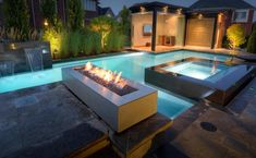 Modern Patio Design with Rectangular Outdoor Fireplace from Stardust Modern Desi contemporary-patio Modern Patio Design, Contemporary Patio, Contemporary Style, Garden Fire Pit, Fire Pit Backyard, Porches, Fire Pit Gallery, Patio Grande, Fire Pit Decor