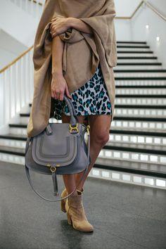 leopard dress, shift dress, cuyana cape, women's fashion, blair culwell, the fox and she