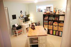 scrapbook room - shelves & work station