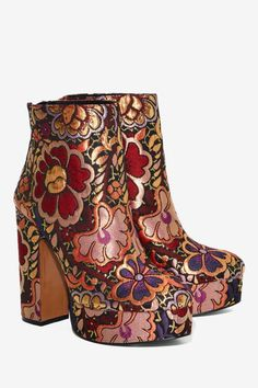 shoes Shellys London Chanah Brocade Bootie - S - Block Heel Ankle Boots, Platform Ankle Boots, Ankle Booties, Bootie Boots, Shoe Boots, Ankle Heels, Women's Boots, Tall Boots, Dr Shoes