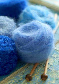 Blue mohair yarn