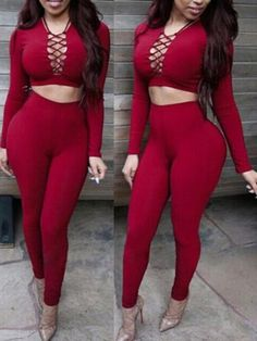 2PCS Short TOP + High Waist Pants Summer Fashion Women's Sexy Long Sleeve Strappy Across Up Playsuit Clubwear