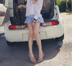 WithChic Golden Knee High Strappy Lace Up Zipper Gladiator Sandals   WithChic