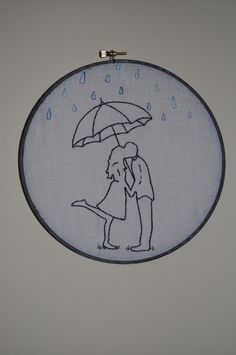 Hand Embroidered Couple Under An Umbrella, via Etsy.
