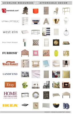 Affordable home decor resources.