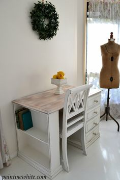 White washing old wooden furniture in keeping with the Hamptons style is a great way to personalize pieces that you may not have been so keen on. I plan to do this with an old mahogany wine rack clad with black cast iron for a dramatic look. Fitted Bedroom Furniture, Bedroom Desk, Living Room Furniture, Recycled Furniture, Home Furniture, Unique Furniture, Wooden Furniture, Vintage Furniture, Kitchen Desks