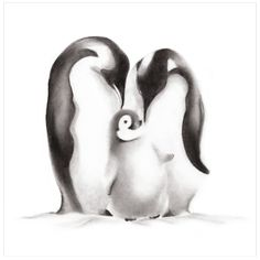 This loving penguin family are a print of Nicky's original pencil drawing. Sizes: 8.5 x 11, 11 x 14 and 16 x 20. Please make your selection from the drop-down menu at checkout. Paper: The penguins are