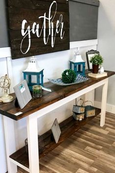 DIY Foyer Decorating Ideas For Small Foyers and Apartment Entryways - Involvery Gorgeous foyer decor idea – LOVE that farmhouse foyer table and the pallet Gather wall sign! Apartment Entryway, Entryway Decor, Foyer Table Decor, Rustic Hallway Table, Accent Table Decor, Apartment Ideas, Rustic Furniture, Diy Furniture, Farmhouse Furniture