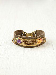 Gold Spun Leather Bracelet. FP